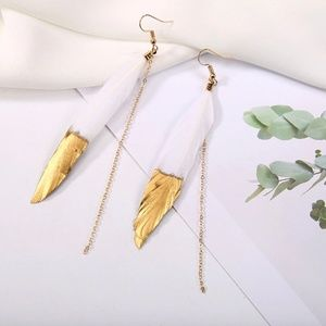 Queen B Gold Dipped Feather Earrings in White